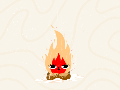 Fire Character | Warm-up Illustration bulgaria illustration warm texture outside winter character bonfire fireplace fire warm up warmup