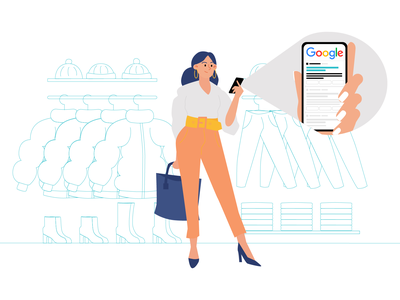 Online Shopping | Illustration illustration ui ux vx ui illustration online online shopping shopping online shop seo google google search girl modern clean minimal store clothes fashion fashion app