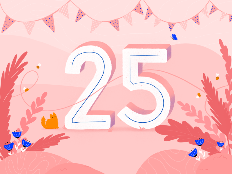25th birthday | lettering & illustration bee bees kitty 3d letters letters typography type 3d type 3d party flowers pink cat illustration lettering 25 birthday