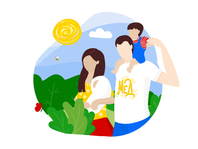 Happy Family on a Walk in the Nature | Illustration parental parents colorful flat web website blog up illustration illustration together sun sunny walk forest nature kids family outside outdoors camping