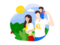 Happy Family on a Walk in the Nature | Illustration