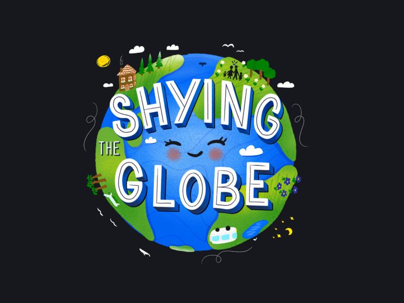 *MilenaT* Shying The Globe Globe | Illustration world travel friendly cute blog space earth planet globe typography type lettering illustration