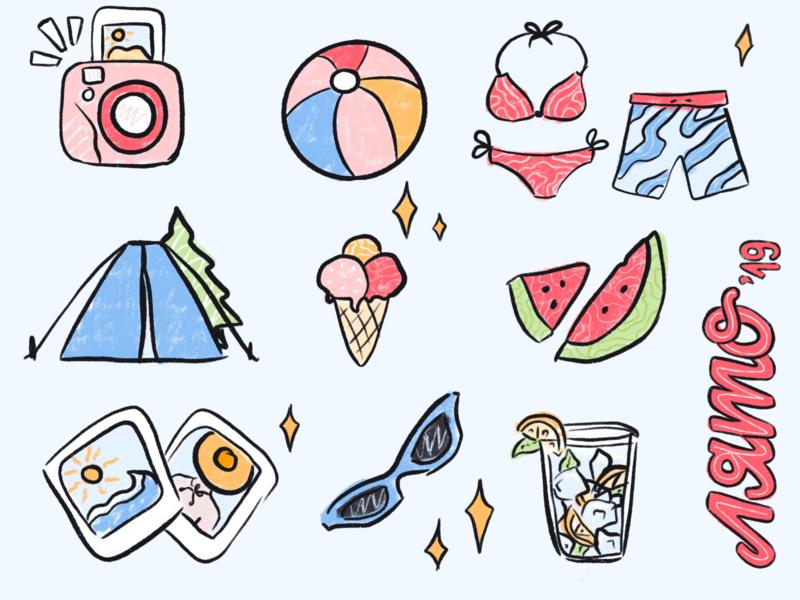 Summer 2019 | Illustration instagram tent instant camera photographs fresh summer beach time beach beach ball lemonade sunglasses icecream camping watermelon bathing suit polaroids textured stickers bulgarian illustration