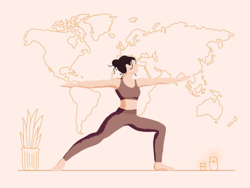 Yo, gal, nice! | Illustration adobefresco fresco procreate ui bulgaria devotion ui illustration lineart world girl yoga illustration