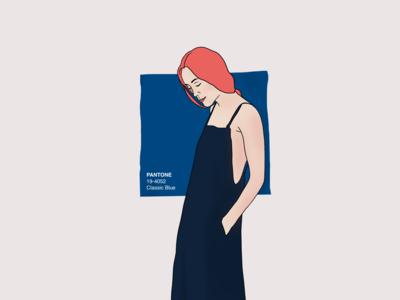 PANTONE color of the year uiillustration panton pantone coral moody character girl procreate blue bulgaria illustration