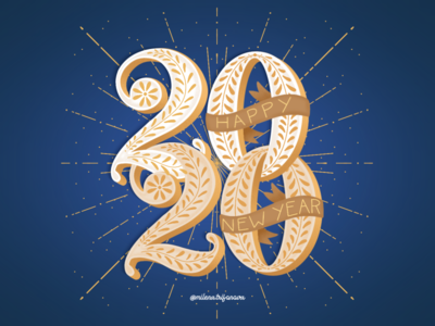 2020 Happy New Year | Lettering new year happy new year 2020 happy new year 2020 procreate bulgarian ipad blue bulgaria type typography lettering illustration
