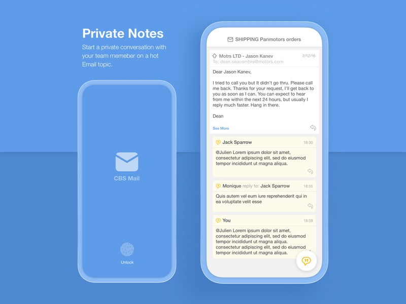 CBS Mail APP minimalist product conversation email thread client email client blue chat mail box inbox ux design ui design note mobile app design ux ui application email app mobile