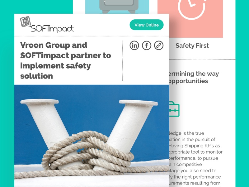Newsletter 3: Partnership corporate software rope impact safety vessel shipping color ux ui design minimal creative branding brand inbox email mailing mail