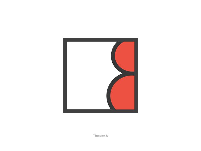 Theater Eight cinema minimal design branding pictogram performance illustratuin icon art play 8 eight box window logo design curtains red drama theater logo