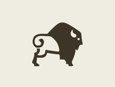 Bulling arround taurus horn brown design vector buffalo animal bison bull illustration