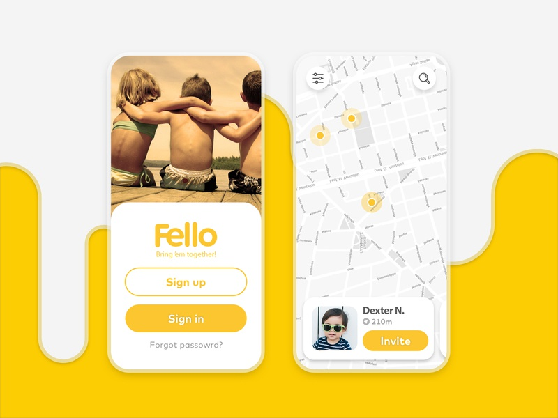 Fello App - Bring 'em together meet ios play city map navigation children kids yellow landing login simple design ux minimal flat friends mobile app design mobile ui app design
