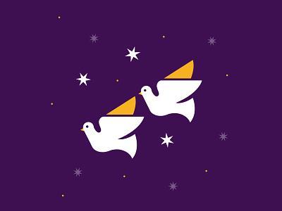 Two Turtle Doves 12 days of christmas days stars 12 christmas illustration vector minimal doves