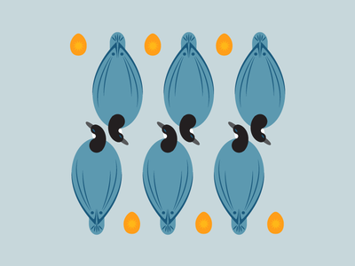 Six geese a-laying eggs 12 days of christmas flat design illustration vector pattern geese
