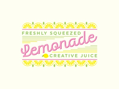 Lemonade label modern fresh type yellow pink bright pop fun juice typography lemonade