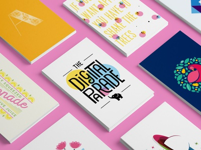 The Digital Parade flat lay print poster planet mock up business card colourful vector illustration logo