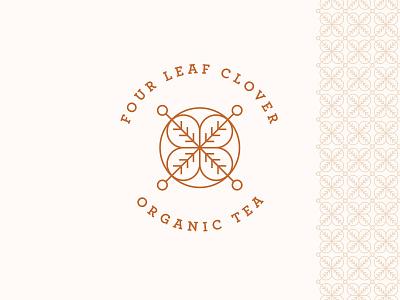 Four Leaf Clover geometric brand branding flower clover minimal modern logo icon line organic tea