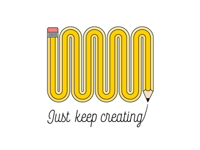 Just Keep Creating loop forever infinite type illustration pencil
