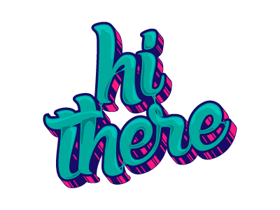 Hello World chewing gum hi there vector font type hello