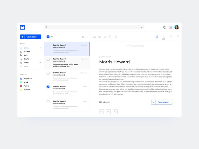 Mail Client practise inbox daily mail drop shadow button design web design ui