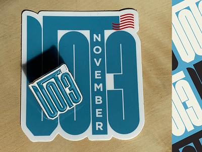 VOTE 2020 - Enamel Pin + Sticker vote usa type riseupshowupunite designfordemocracy designforchange sticker enamelpin daissydesigns