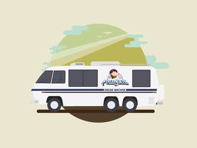 Full Sail′s Dream Machine renderedthreads vector motorhome illustration