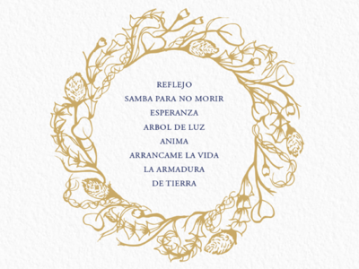 Ka Malinalli's Reflejo Album Cover (back) illustration renderedthreads album cover floral lettering