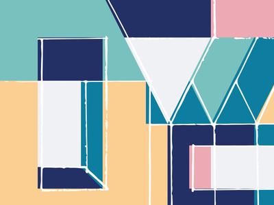 Mi Casa Es Su Casa No. 5 pattern house geometric abstract illustration renderedthreads