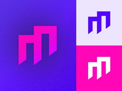Noisy M renderedthreads architectural logo letter m vector