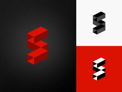 Noisy S renderedthreads perspective logo s letter vector