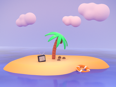 Quick Break water ocean sky clouds tv stranded rescue tree palm tree nature island design octane 3d art c4d 3d cinema 4d