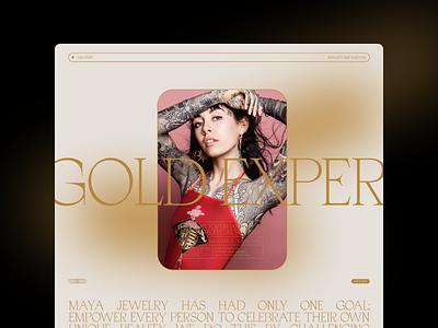 Maya Jewelry - Gold Experience homepage serif editorial website type web design minimal design layout typography