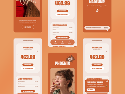 Mobile Banking App V2 ux ui design uxui ux app application mobile application mobile screens app design application design screen design ui clean minimal design typography