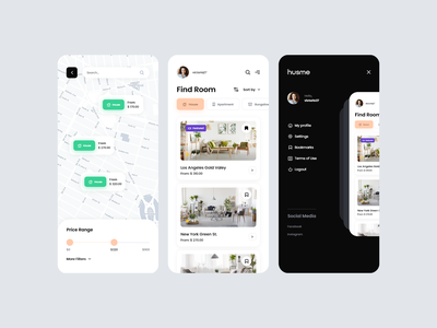 HUSME - Room rental application | iOS, Android map hotel bungalow motel mobile modern saas system rooms booking rent rental apartment room ios android application app ux ui
