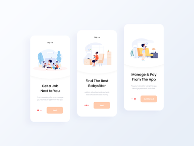 Nanny app UI/UX ios mobile toddler employ workspace vector work job board family kid baby kids babysitting babysitter nanny minimal app design ux ui