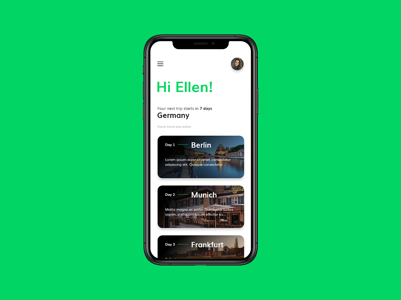 Travel app design modern traveler uxui front page minimal webdesign design travel app europe trip smarthome travel ui ux app design app