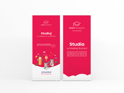 Roll-up design -  Studies in UK. event branding company branding london united kingdom uk studies study graphic brand key visual identity red banner design banner roll-up print design vector design branding rollup