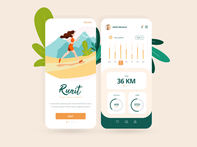 Running app - fitness, jogging, sport. iosapps mockup smartphone application fit workout app vector illustration minimal jogging fitness app sport app running app iosapp android app android ios app ux ui