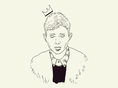 King Krule boy minimal portrait sketch black invites wip watercolor illustration king