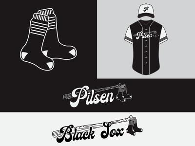 Pilsen Black Sox sports logo baseball cap t shirt design sports baseball logo sports branding baseball procreate digital art logo illustrator identity branding