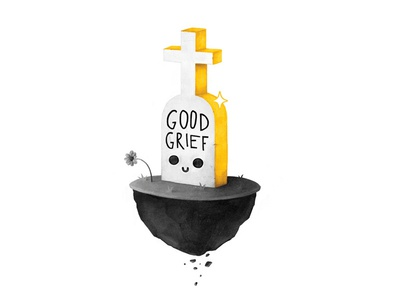 Good Grief yellow gold kawaii cute death grave grief good goodgrief