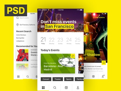 Free iOS UI - Event & Ticket Sales App yellow event app ui ios free