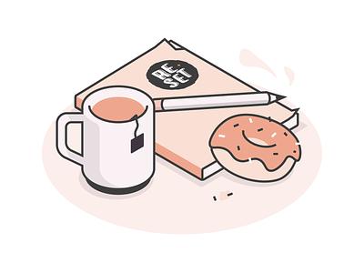 Reset pencil reset coffee tea notebook donut isometric icons lines illustration