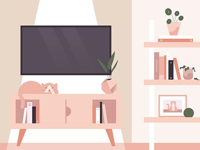Comfort Zone home bookshelf tv pilea icon flat illustration livingroom cat plants illustration