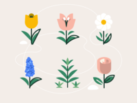 Island Flowers illustration tulips daisy weed roses flowers animal crossing plants plant lines icons