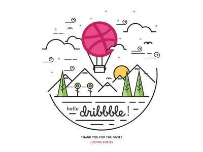 Hello Dribbble! illustration thank you hot air balloon sunrise linework first debut