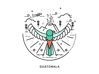 Quetzal volcano travel bird flowers illustration lines quetzal guatemala