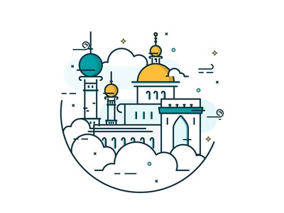 New Horizon illustration icons new world clouds minor mosque arabian line work lines