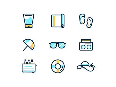 Beach Essentials sunglasses towel summer hat lifesaver icons cooler sunscreen flip flops beach line work lines