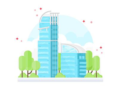 Nina Tower buildings skyscrapper highrise vector flat  illustration development nina tower background
