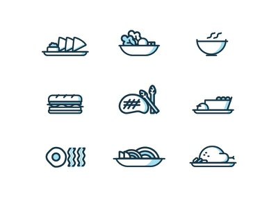 Dining Icons pt.2 sandwich chicken noodles lines reno icons desserts pasta entree soup food